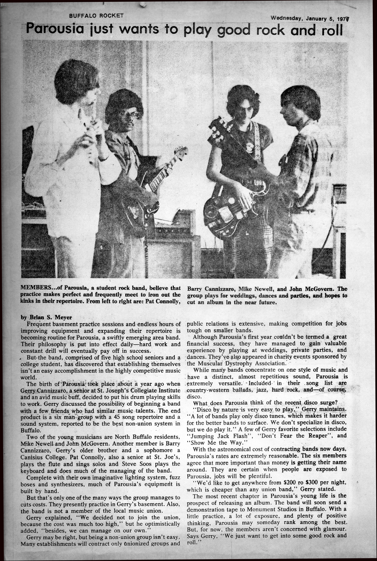 Parousia Band review in The Buffalo Rocket Newspaper January 5th 1977