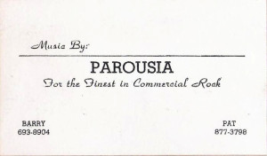 Parousia Business Card 1976-1977