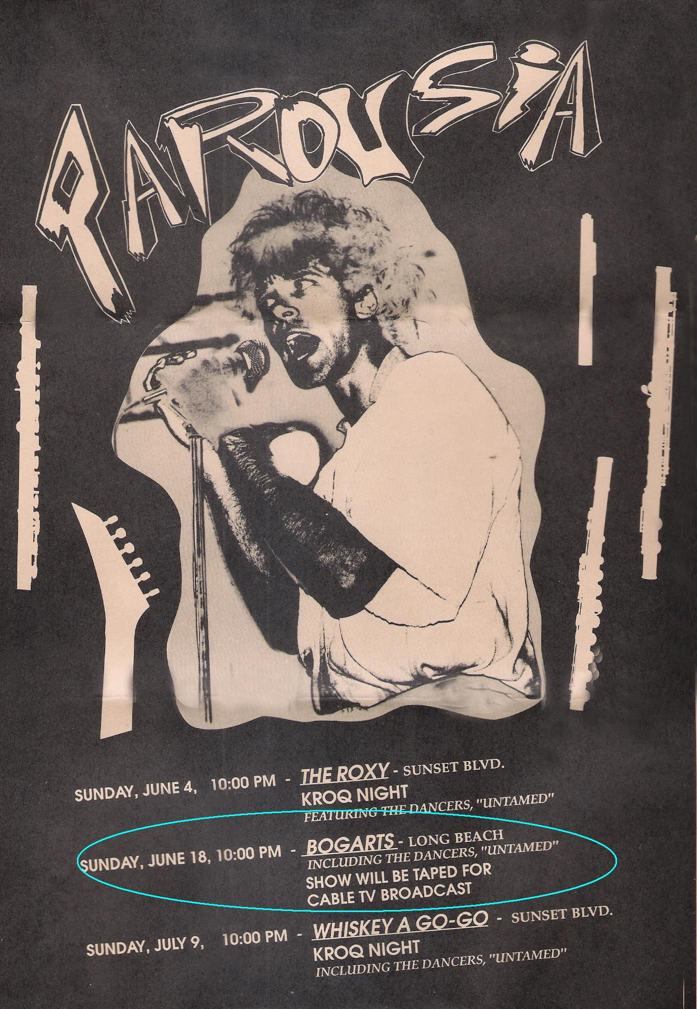 Flyer for Parousia at The Roxy, Bogart's, and the Whiskey-a-Go-Go