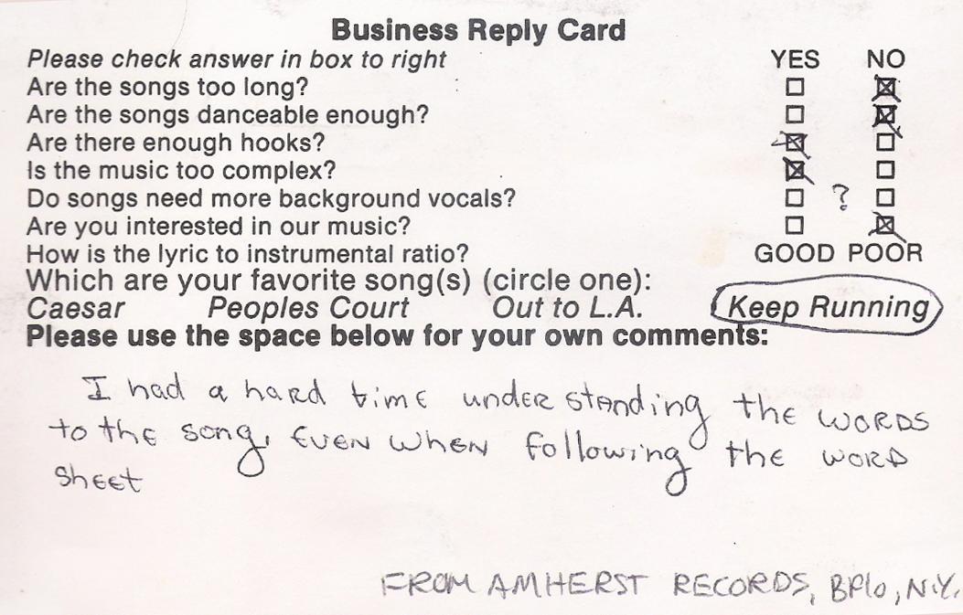 Amherst records, Buffalo, NY 1986