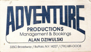 Adventure productions business card with Alan and Georgine