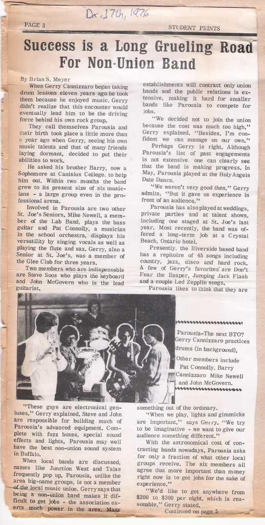 (Pt.1) Parousia- Student Prints. St Joe's Newspaper 12.17.76