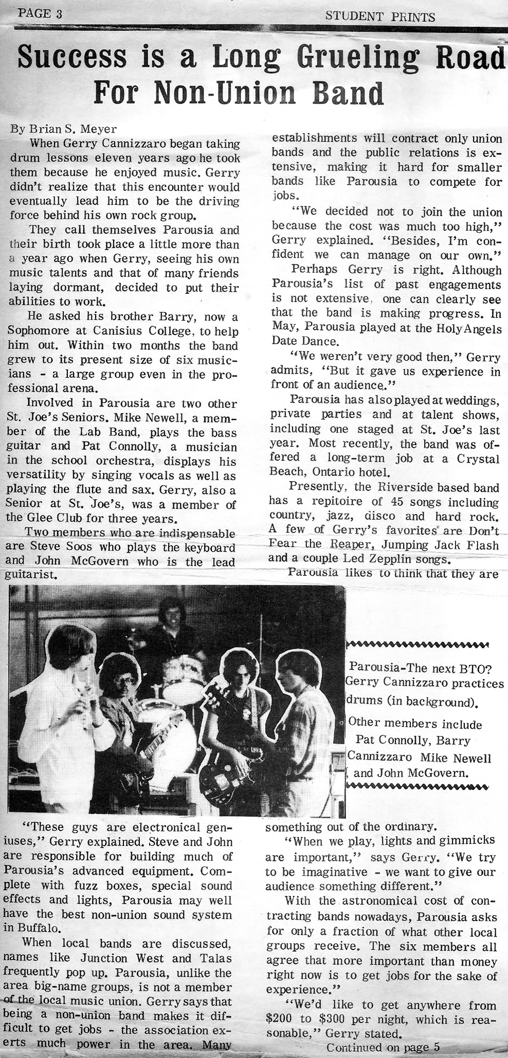 St. Joe's Student Prints - article about Parousia 1977 (Pg.1))