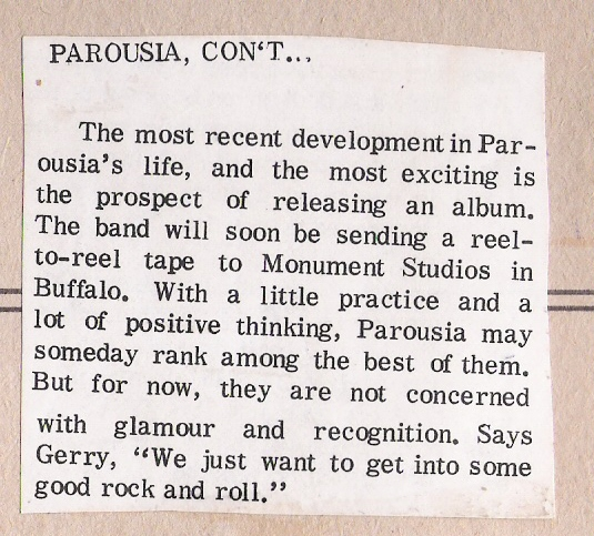 Parousia published in Student Prints Magazine 1976.