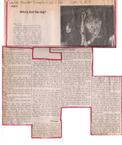 'Worlds Thunder Current', Sept. 4th 1979. Review of Brush Garden's performances March 9th-17th, 1979