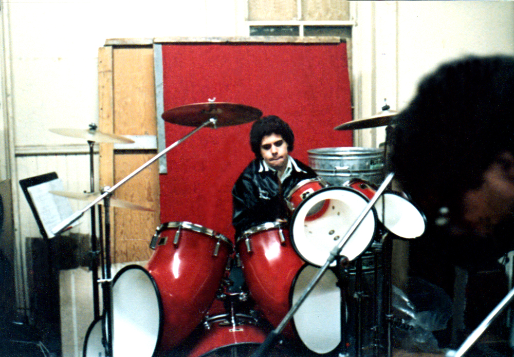 Gerry and his incredibly cumbersome red-carpeted wooden drum platform (in two sections)