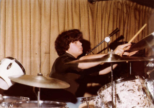 Gerry Cannizzaro on Kent Drums (double kick drum) at McVan's Nov. 22, 1978
