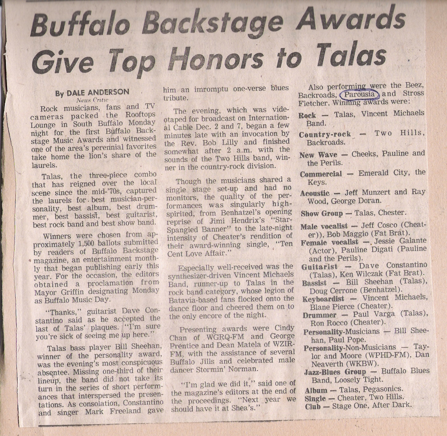 1981 Buffalo Evening News Review of Buffalo backstage music awards Nov. 23 1981