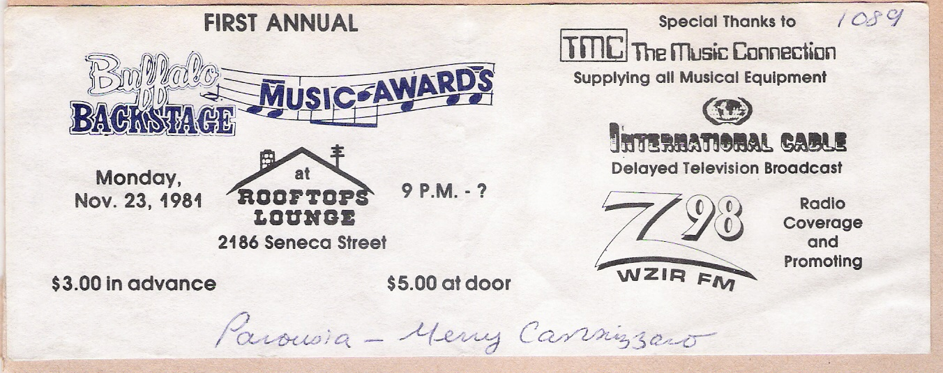 198 ticket Buffalo backstage music awards Nov. 23 1981