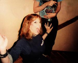 Debbie Sekera grabbing Garth's junk -Loft Studios Feb. 1984