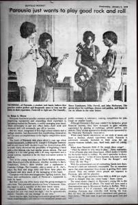 Parousia Band review in The Buffalo Rocket Newspaper January 5th 1976