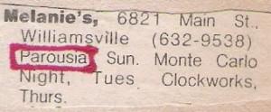 Parousia at Melanies 10.12.1980 - Last Gig