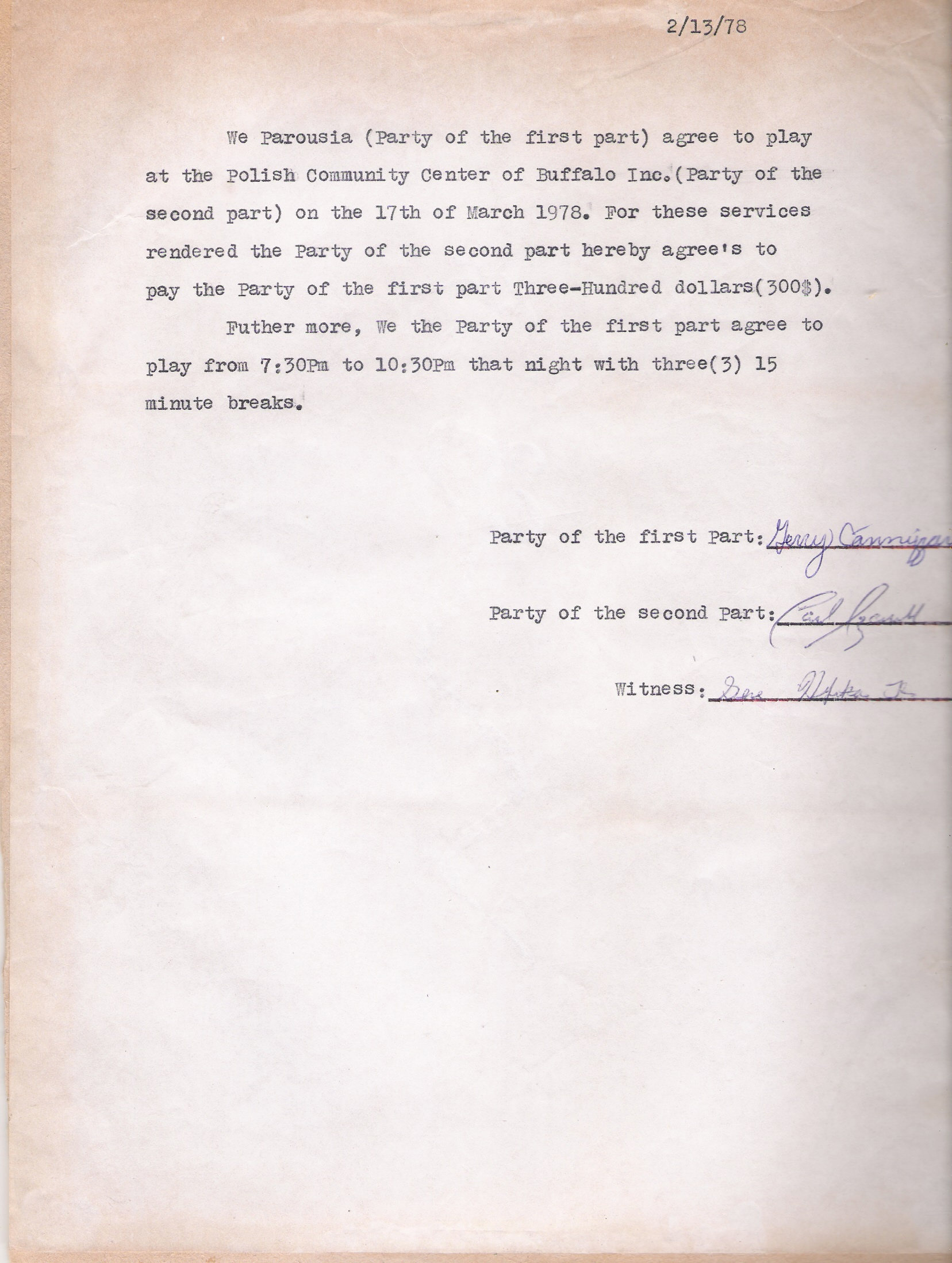 (32) Polish Community Center contract March 17, 1978