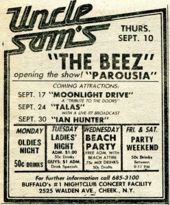 The Beez and Parousia sept 10th 1981