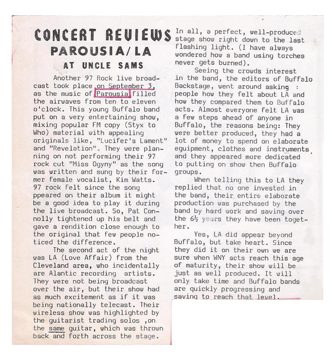 Buffalo Backstage Oct. Review of Uncle Sams Live Show Broadcast 09.03.1981