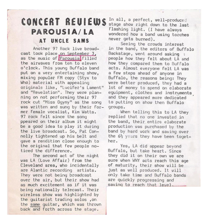 Buffalo Backstage October 1981 review featuring PAROUSIA at Uncle Sam's live broadcast on 97 Rock