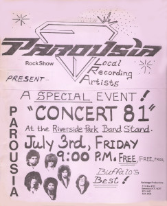 Parousia at Riverside Park July 3rd 1981