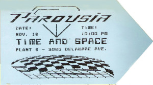 Invite card- Plant 6 -'Time & Space' 11.16.1985