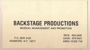 Backstage Productions. Rick Falcowski & Dave Buffamonti