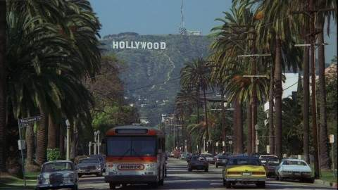 The iconic Hollywood sign from Beachwood and Franklin Avenue.