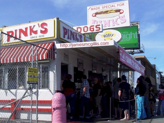 Famous Pink's Hotdog Stand - La Brea Avenue and Melrose.