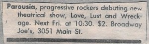 Buffalo Evening News 'Gusto' ad clipping- Broadway Joes. Love, Lust & wreckage 02.14.86