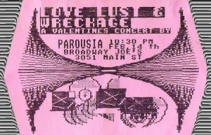 Love, Lust & Wreckage at Broadway Joe's -Invite 02.14.1986