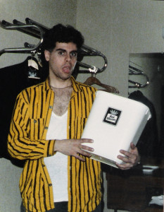 Gerry enjoying the in-room amenities - Jan. 1987