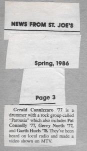 New from St. Joe's. Review mentioning 'Keep Running' video. Spring 1986