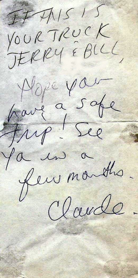 Claudine's 'See ya' Soon' Note- Jan-1987