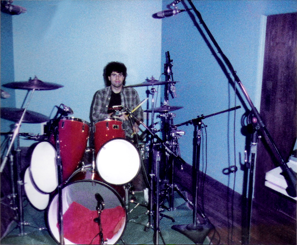 Gerry lays down the drum tracks old school.