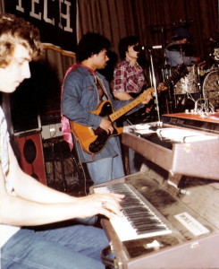 Keyboardist Steve Soos  Vox Jaguar Organ (top) and RMI Farfisi organ (bottom) Hutch Tech 1978