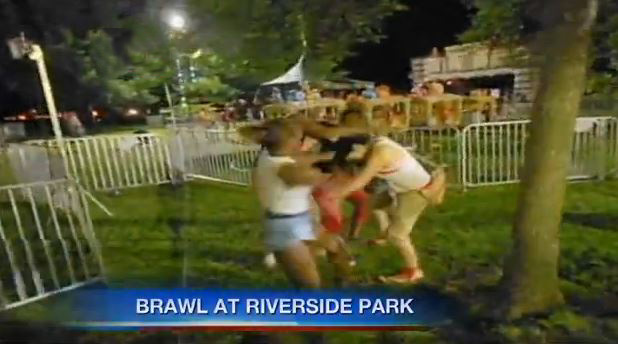 (8) Women at Riverside Park... possibly fighting over Parousia