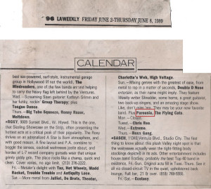 LA Weekly Band list June 2-8, 1989