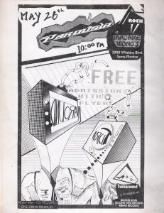 Flyer - Parousia at Madame Wong's May 26, 1988