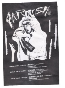 Flyer for Roxy, Bogarts, Whisky_v2 June 1989