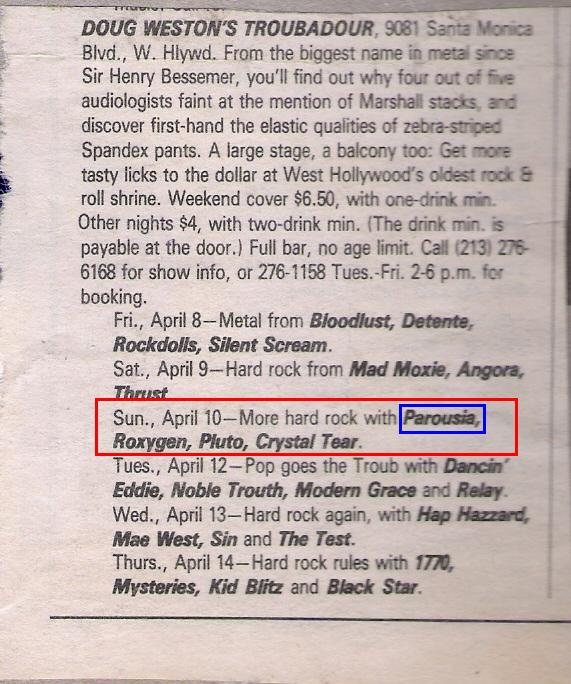 BAM Magazine Band Listing - April 1, 1988