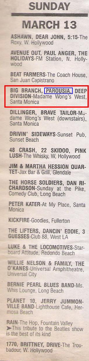 BAM Magazine Band Listing for Madame Wong's March 1988
