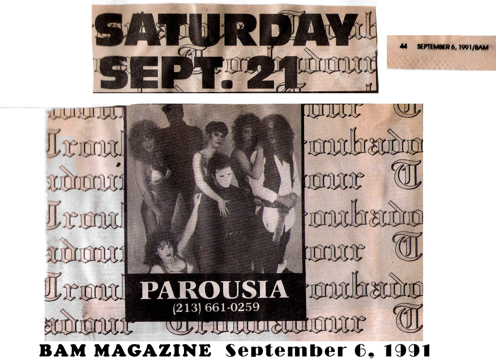 Advertisement: Parousia at the Troubadour, Saturday, September 21, 1991