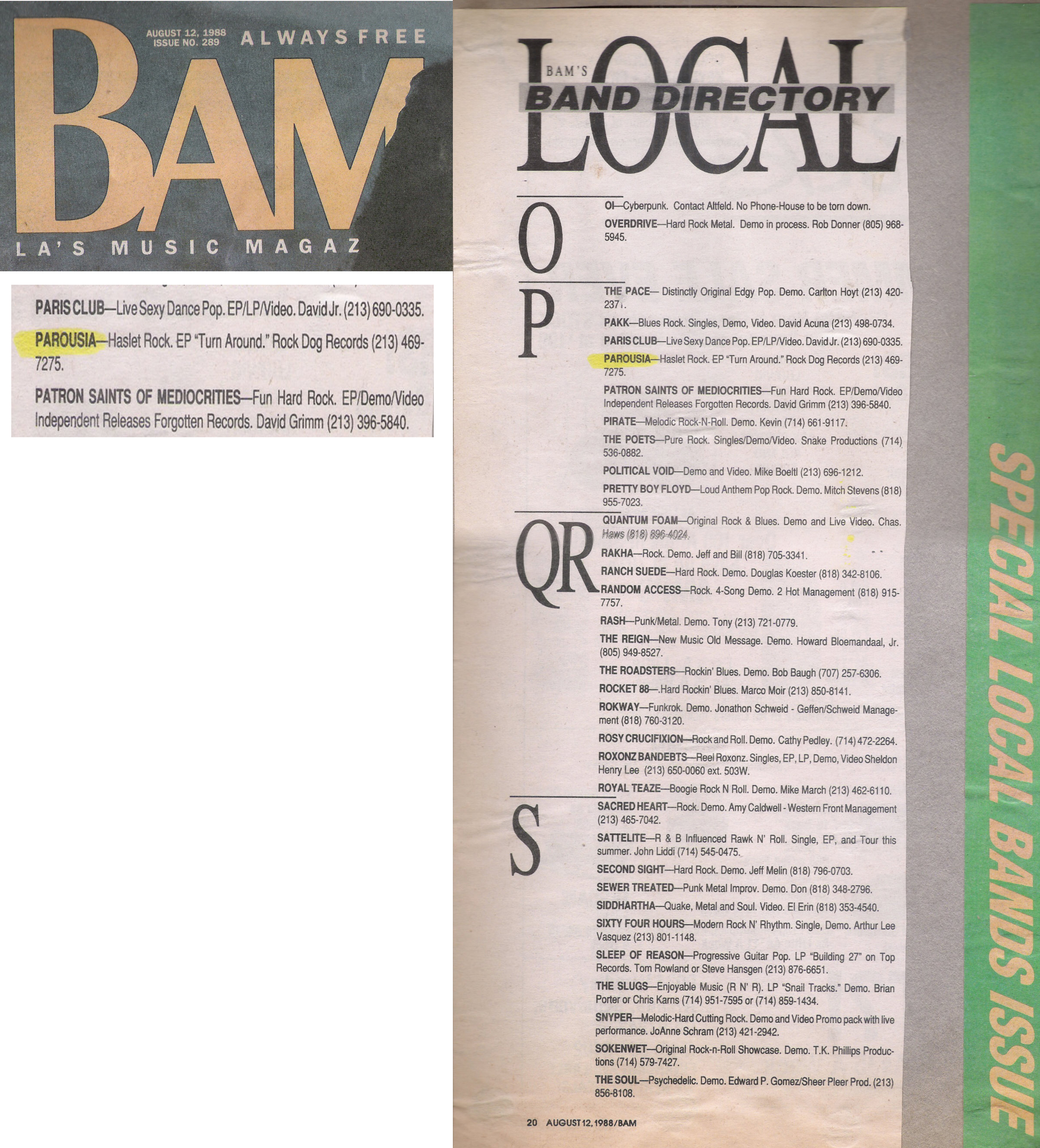 BAM local band directory, August 12, 1988