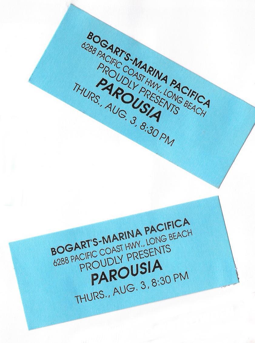 Bogarts Tix - August 3rd 1989