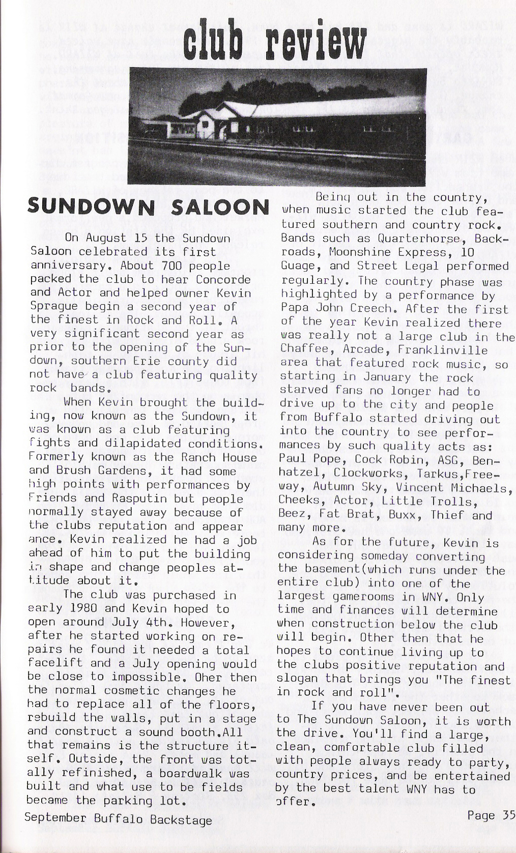 Buffalo Backstage Review of The Sundown Saloon, published September 1981