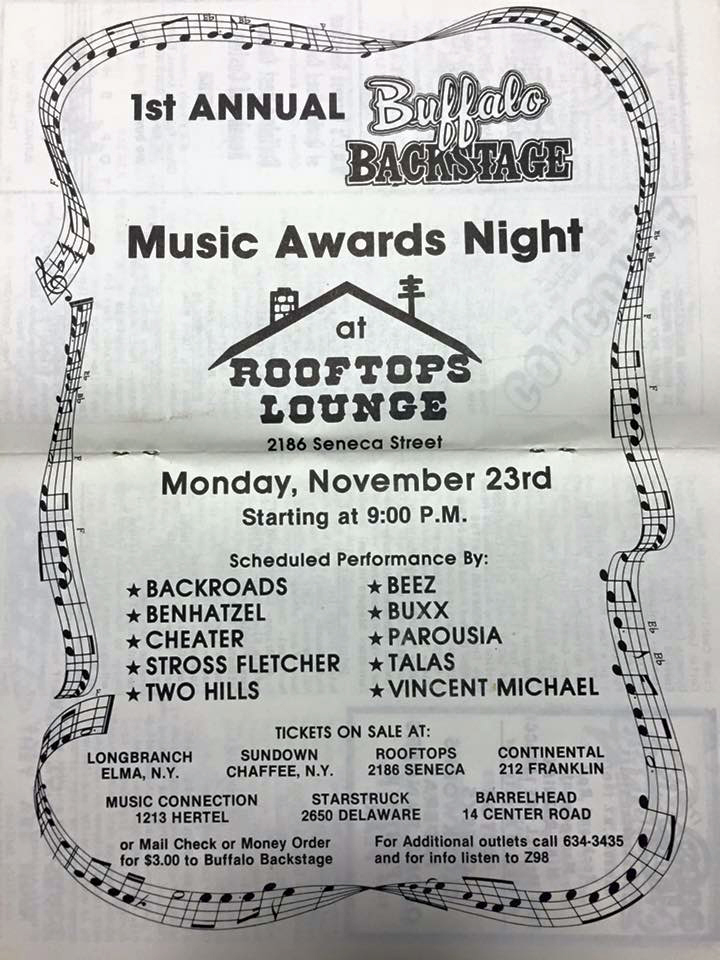 Flyer for Buffalo Backstage Music Awards Night at Rooftops