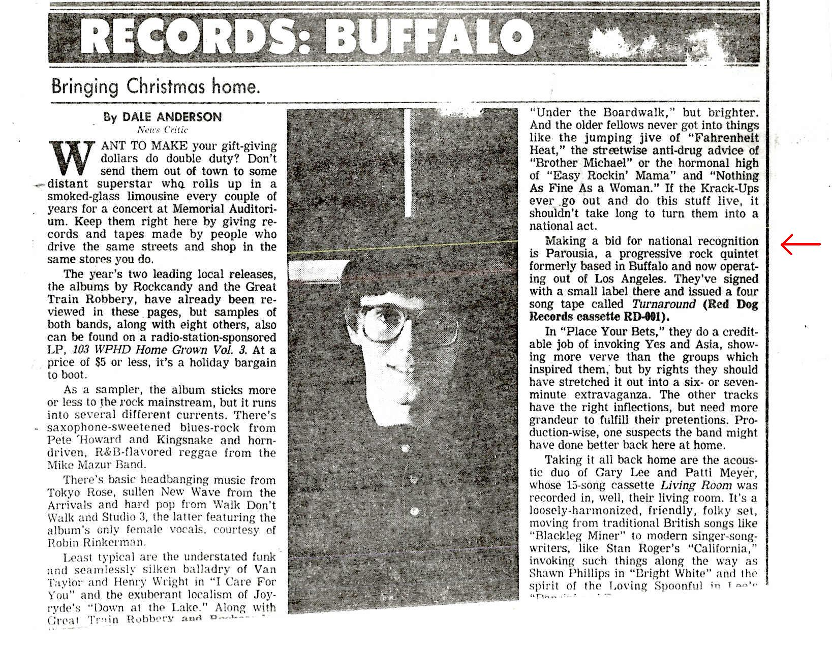 Buffalo News article by Dale Anderson Dec. 1987