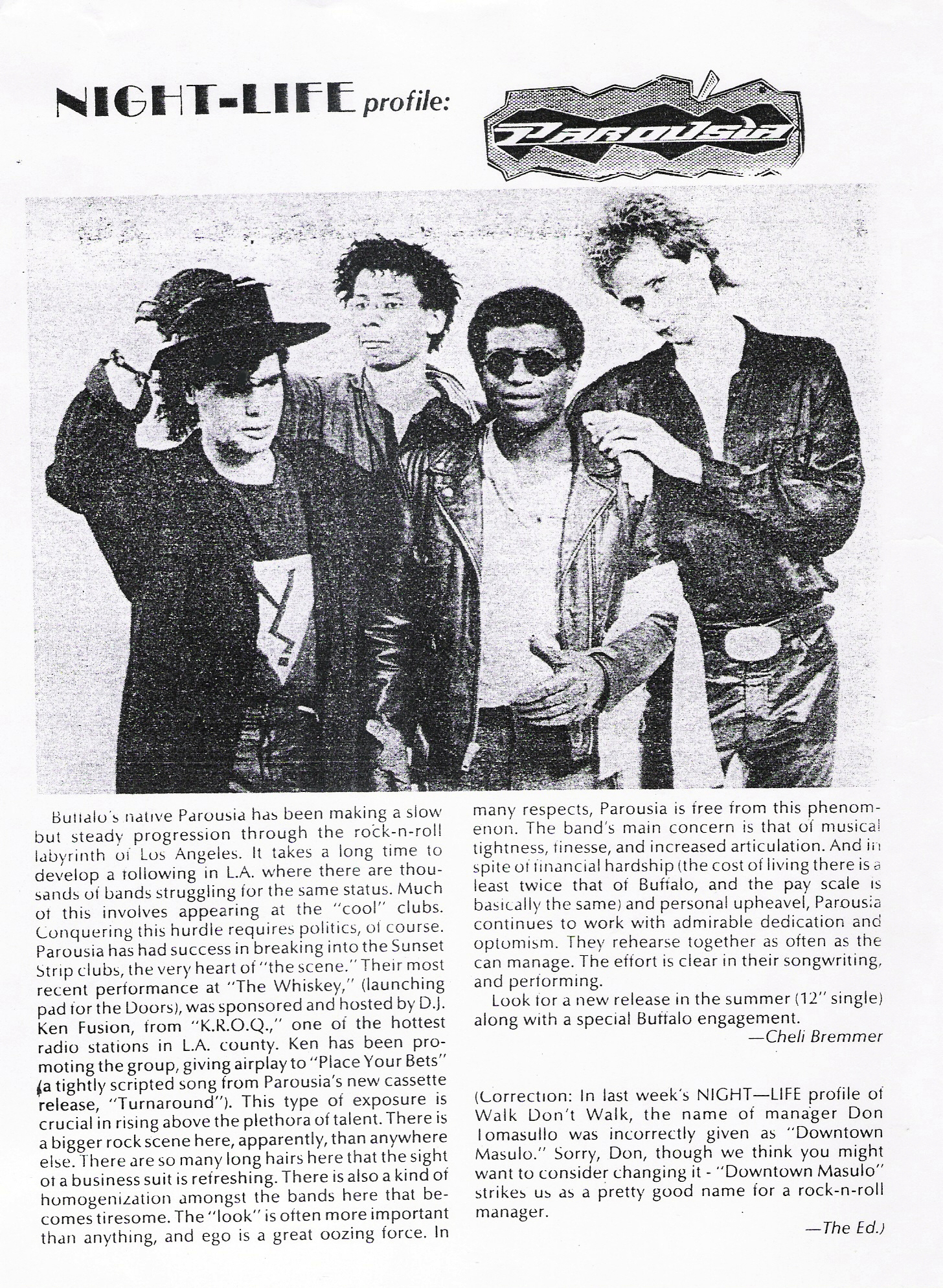 Article published in Buffalo Night-Life Magazine - December 19, 1988