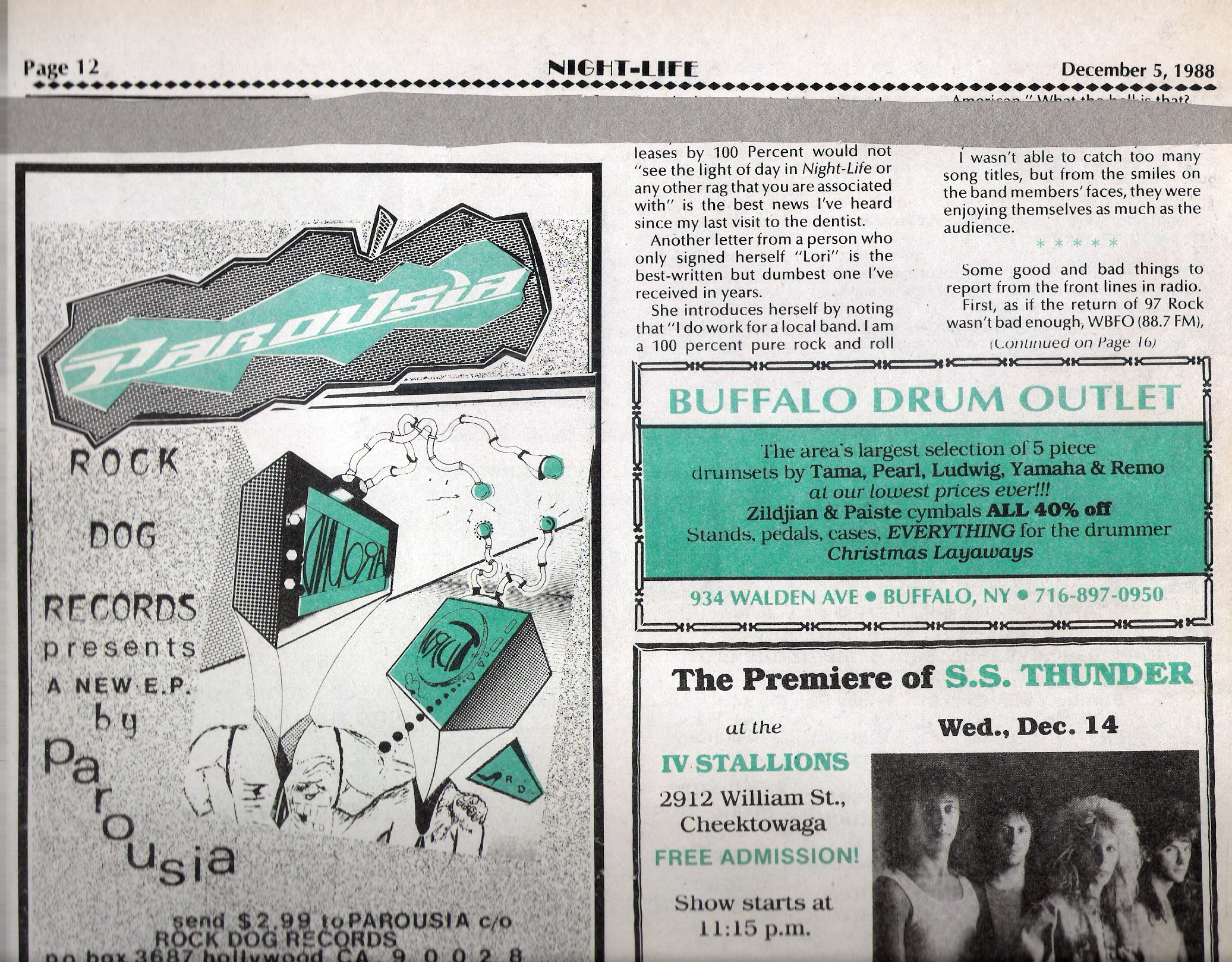 TURNAROUND EP: Buffalo Night-Life Dec. 1988