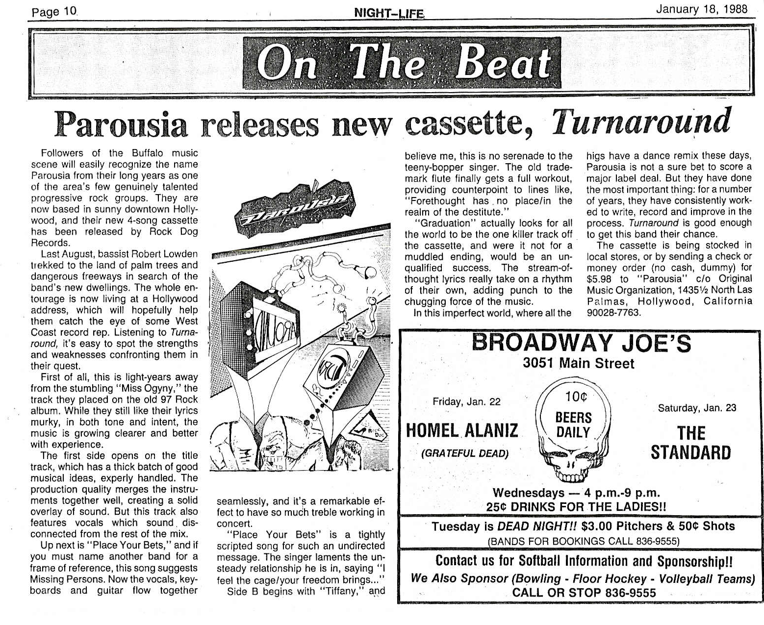 "Buffalo Nightlife reviews Parousia's ""Turnaround"" EP Jan. 1988"