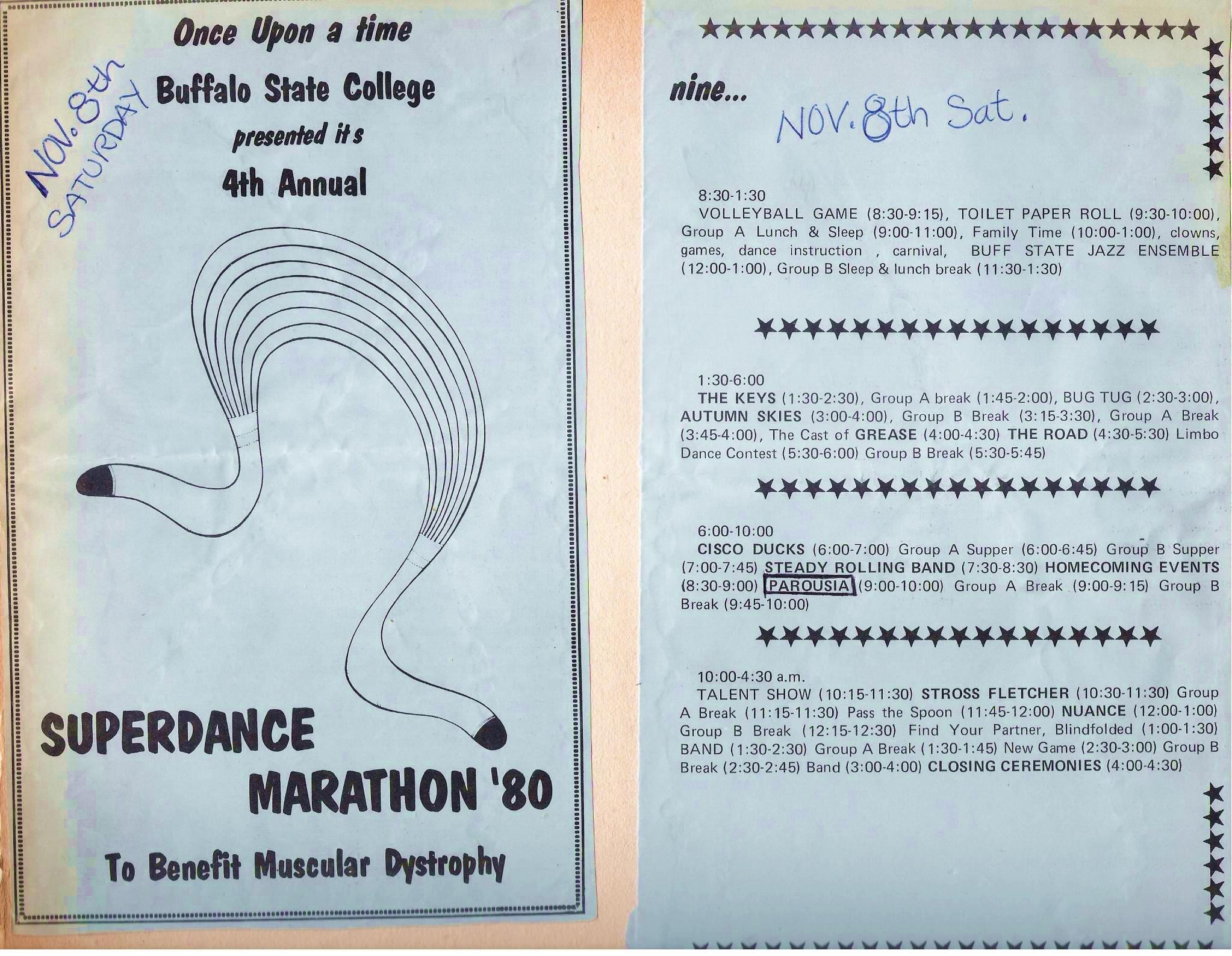 Parousia at the Buffalo State Superdance Marathon- Saturday 11.08.80