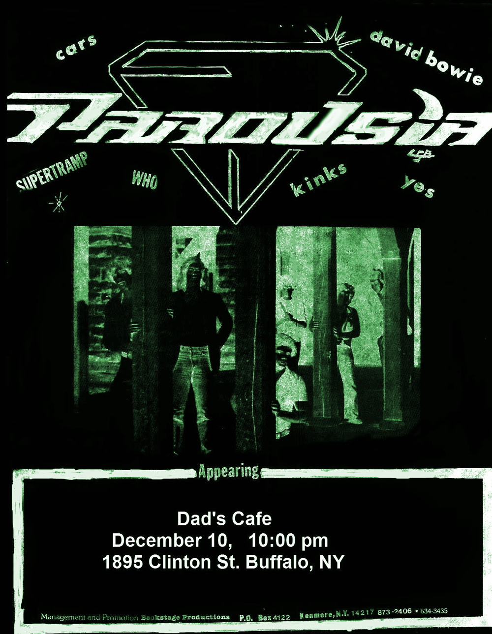PAROUSIA AT DAD'S CAFÉ; Thursday December 10, 1981