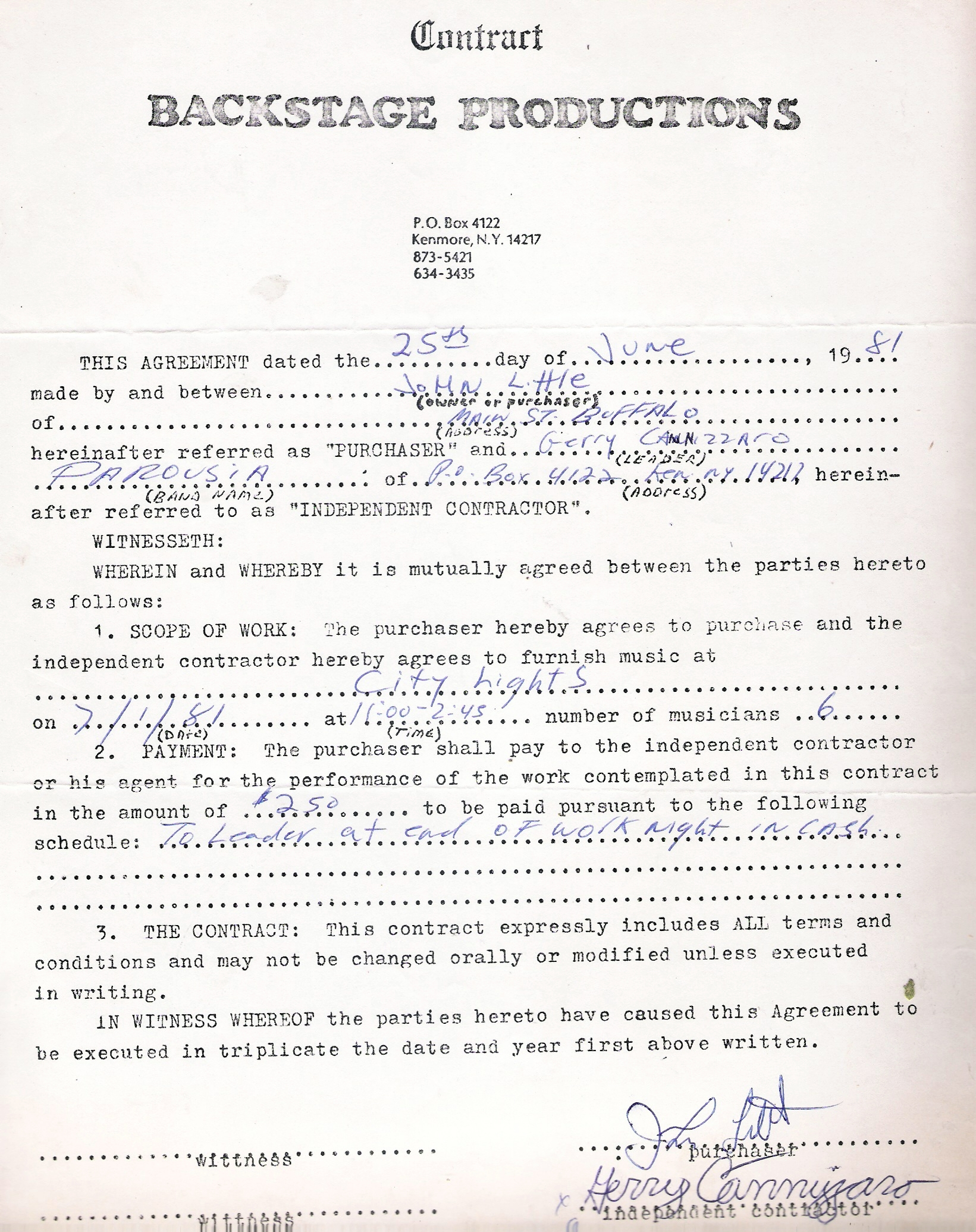 City Lights Signed Contract - 07.01.1981